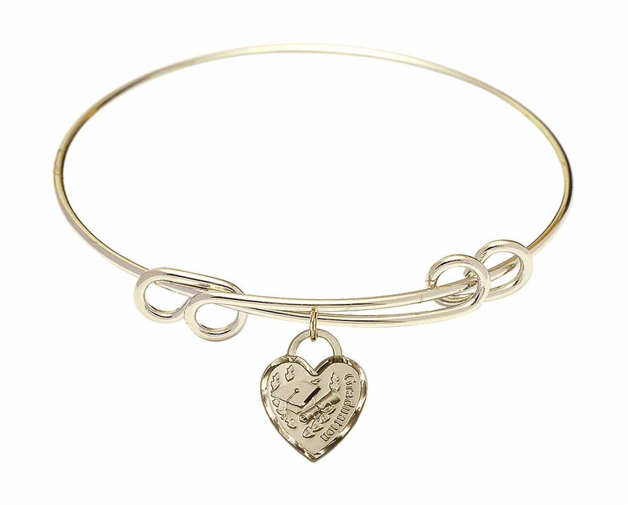 Round Double Loop Bangle Bracelet w/Graduation Heart Charm by Bliss Mfg