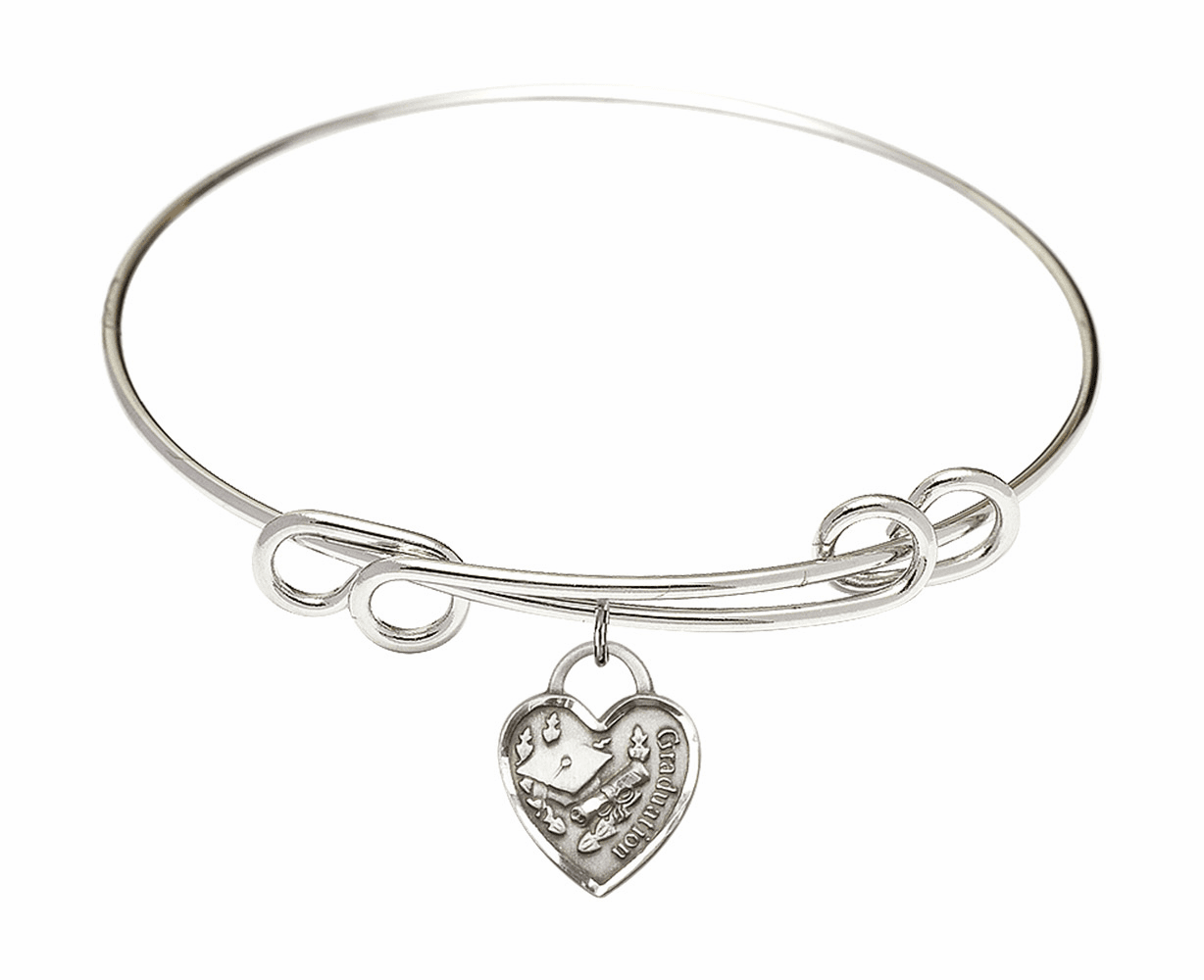 Round Double Loop Bangle Bracelet w/Graduation Heart Sterling Silver Charm by Bliss Mfg