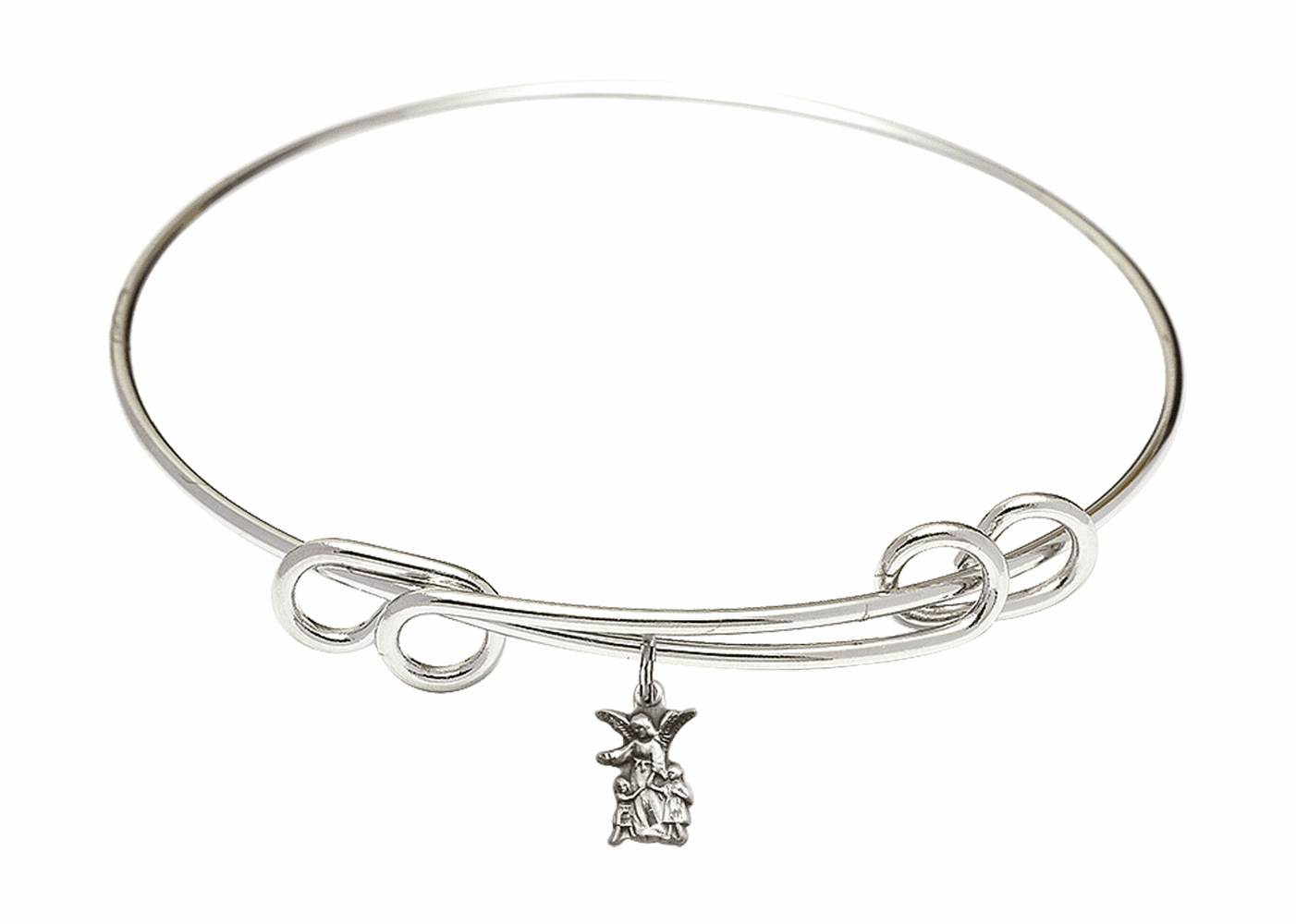 Round Double Loop Bangle Bracelet w/Guardian Angel Figure Sterling Silver Charm by Bliss Mfg