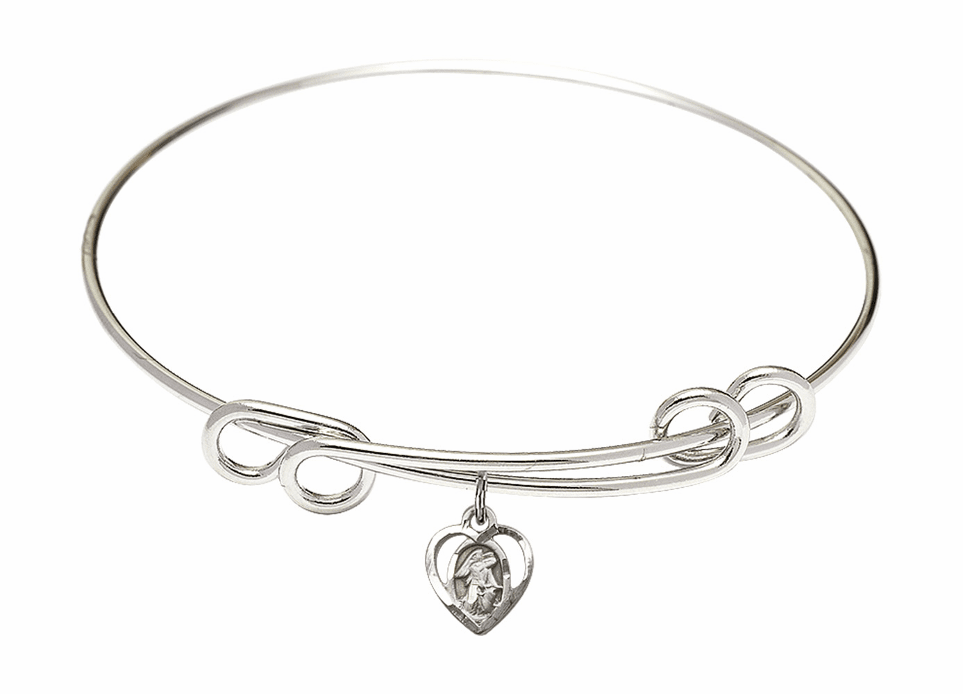 Round Double Loop Bangle Bracelet w/Guardian Angel Heart Sterling Silver Charm by Bliss Mfg
