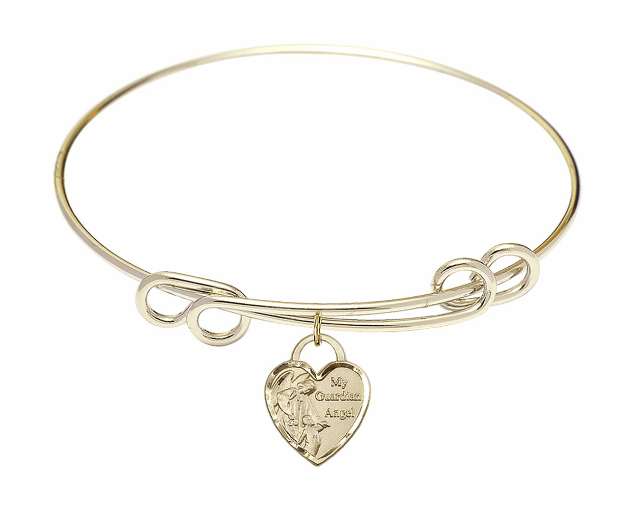 Round Double Loop Bangle Bracelet w/Heart My Guardian Angel Charm by Bliss Mfg