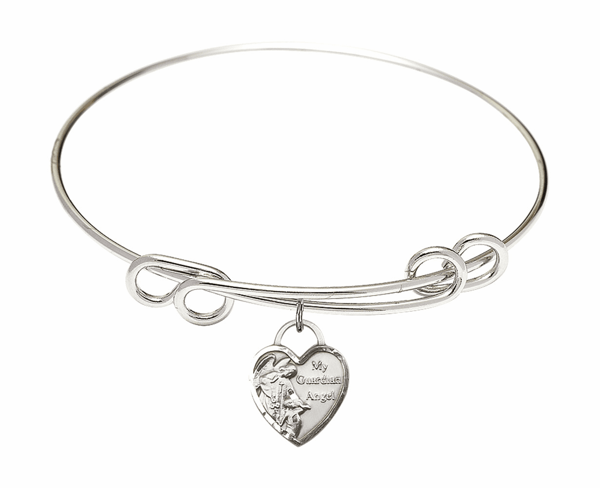 Round Double Loop Bangle Bracelet w/Heart My Guardian Angel Sterling Silver Charm by Bliss Mfg