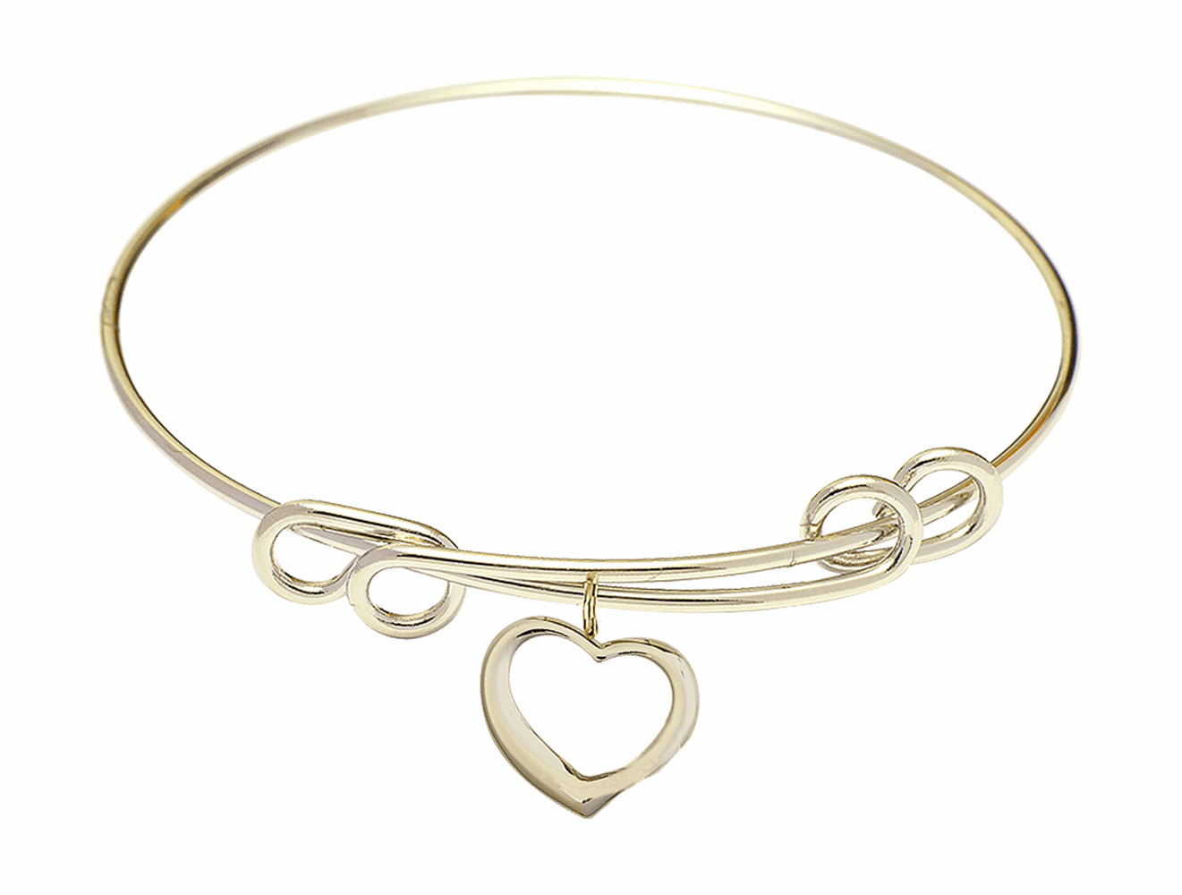 Round Double Loop Bangle Bracelet w/Heart Shaped by Bliss Mfg