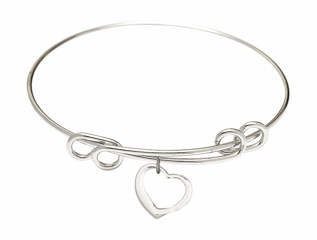 Round Double Loop Bangle Bracelet w/Heart Shaped Sterling Silver Charm by Bliss Mfg