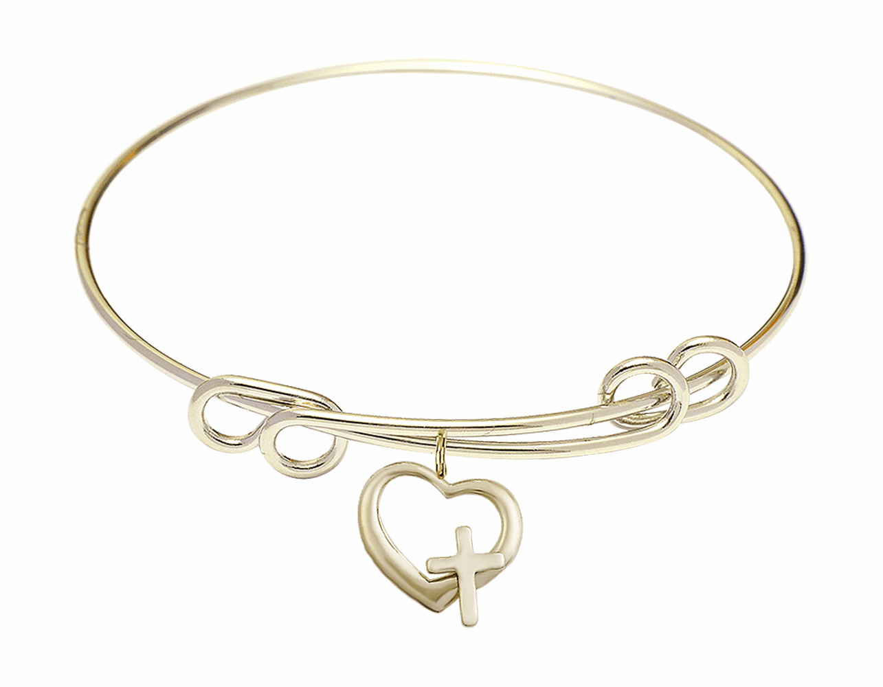 Round Double Loop Bangle Bracelet w/Heart with Cross by Bliss Mfg