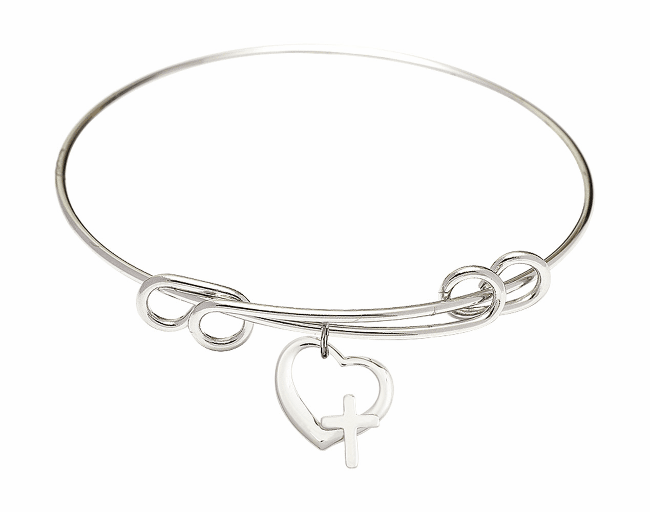 Round Double Loop Bangle Bracelet w/Heart with Cross Sterling Silver Charm by Bliss Mfg