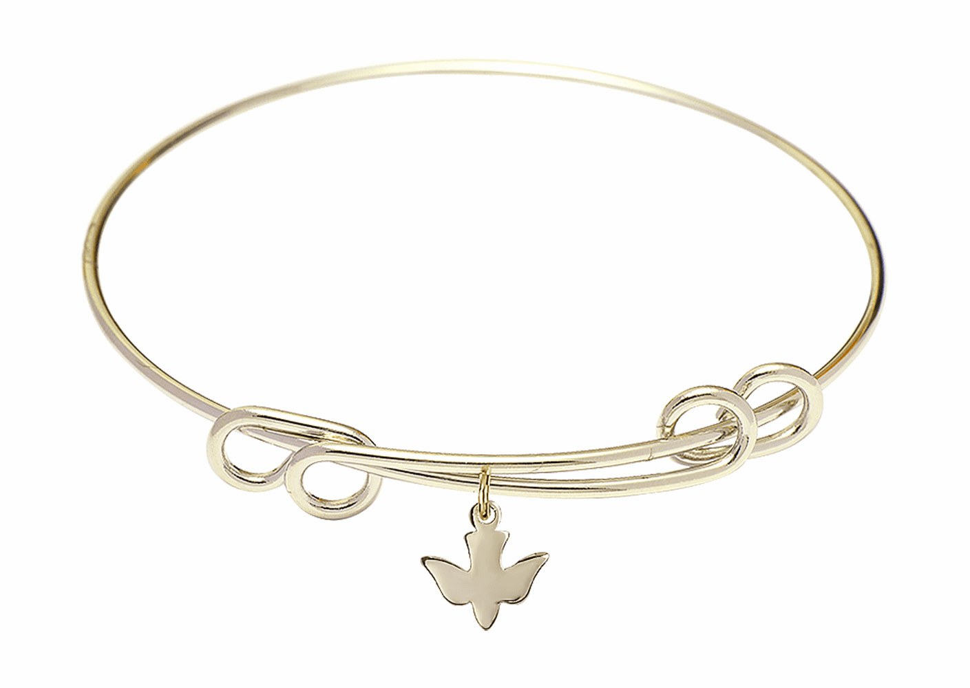 Round Double Loop Bangle Bracelet w/Holy Confirmation Dove 14kt Gold-filled Charm by Bliss Mfg