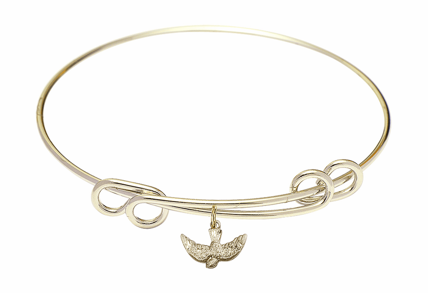 Round Double Loop Bangle Bracelet w/Holy Spirit Dove Charm by Bliss Mfg