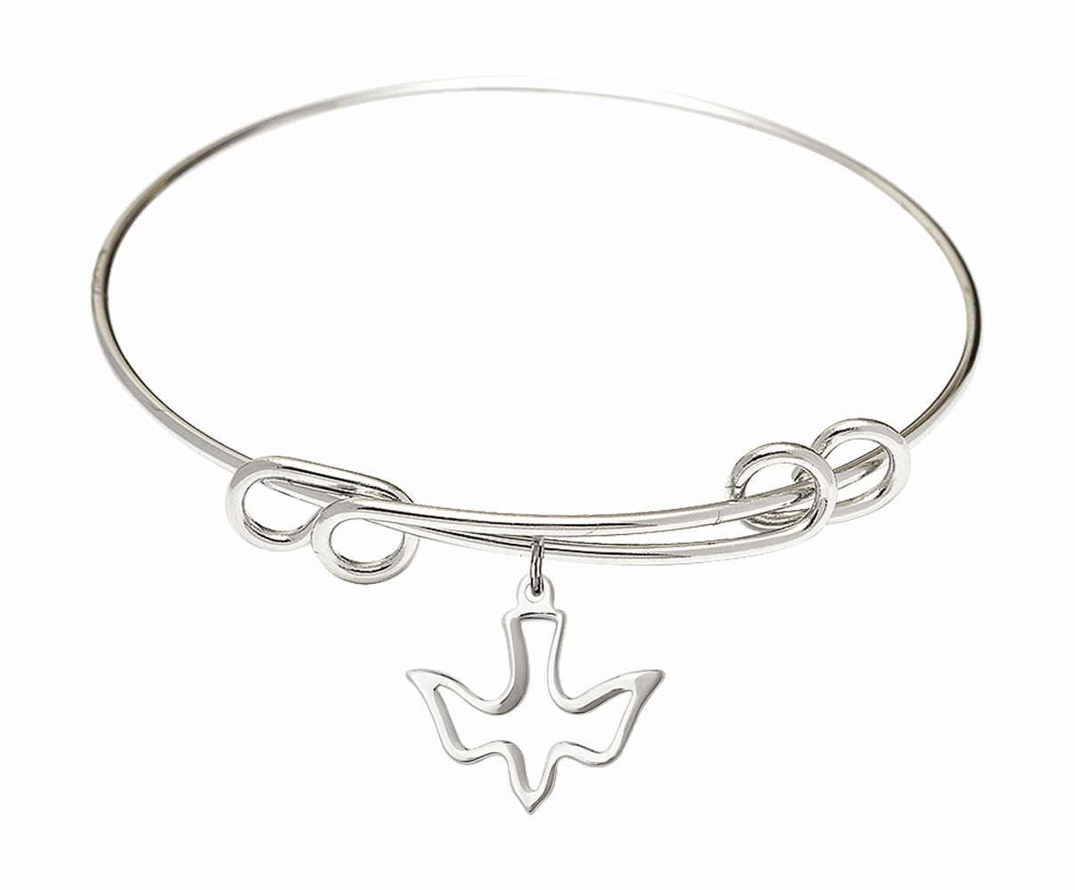 Round Double Loop Bangle Bracelet w/Holy Spirit Dove Sterling Silver Charm by Bliss Mfg