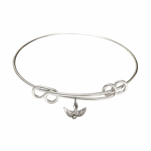 Round Double Loop Bangle Bracelet w/Holy Spirit Dovel Sterling Silver Charm by Bliss Mfg