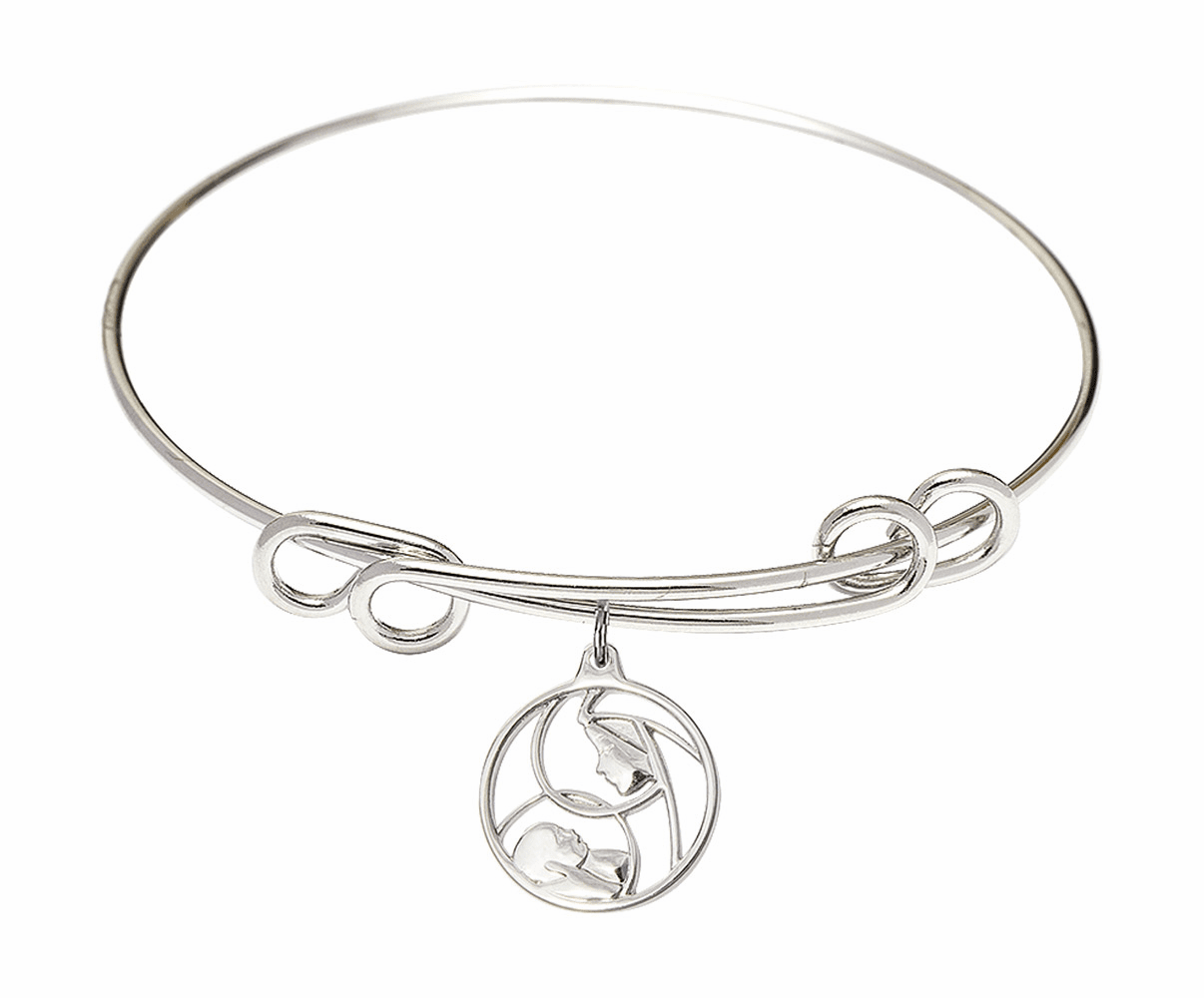 Round Double Loop Bangle Bracelet w/Madonna and Childl Sterling Silver Charm by Bliss Mfg