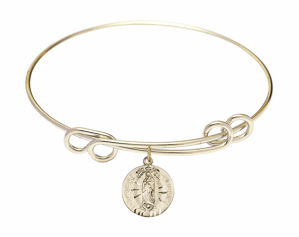 Round Double Loop Bangle Bracelet w/Our Lady of Guadalupe by Bliss Mfg