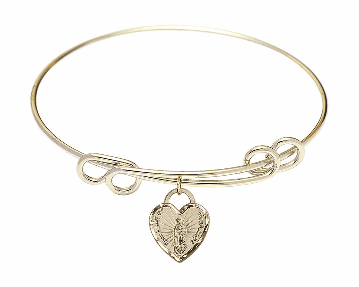 Round Double Loop Bangle Bracelet w/Our Lady of Guadalupe Heart Charm by Bliss Mfg