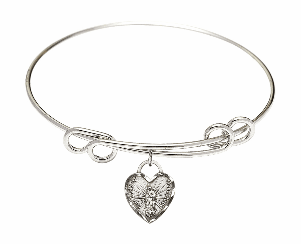 Round Double Loop Bangle Bracelet w/Our Lady of Guadalupe Heart Sterling Silver Charm by Bliss Mfg