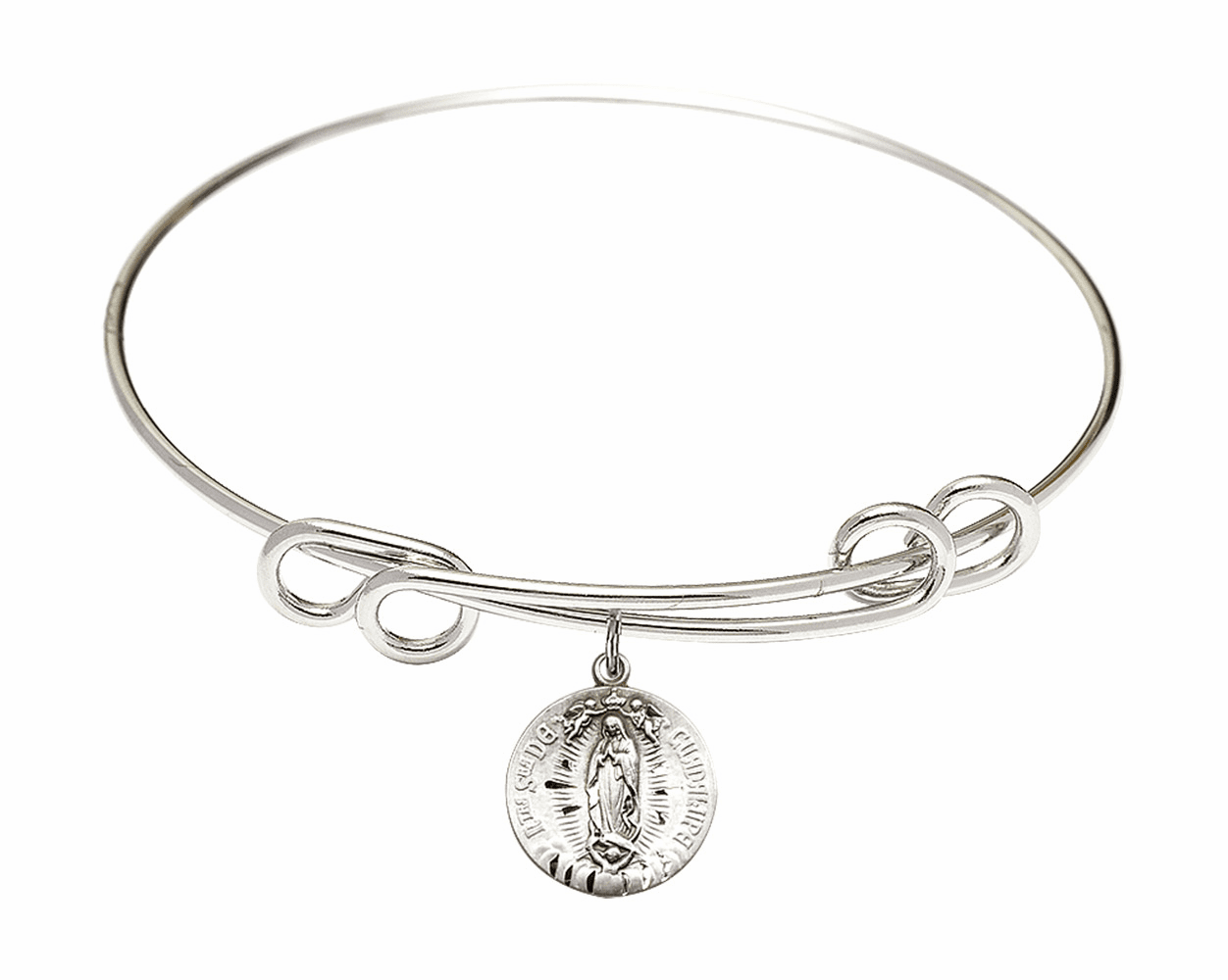 Round Double Loop Bangle Bracelet w/Our Lady of Guadalupe Sterling Silver Charm by Bliss Mfg