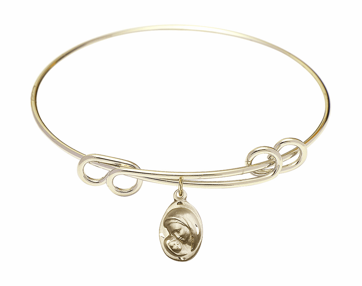 Round Double Loop Bangle Bracelet w/Oval Madonna and Child Charm by Bliss Mfg