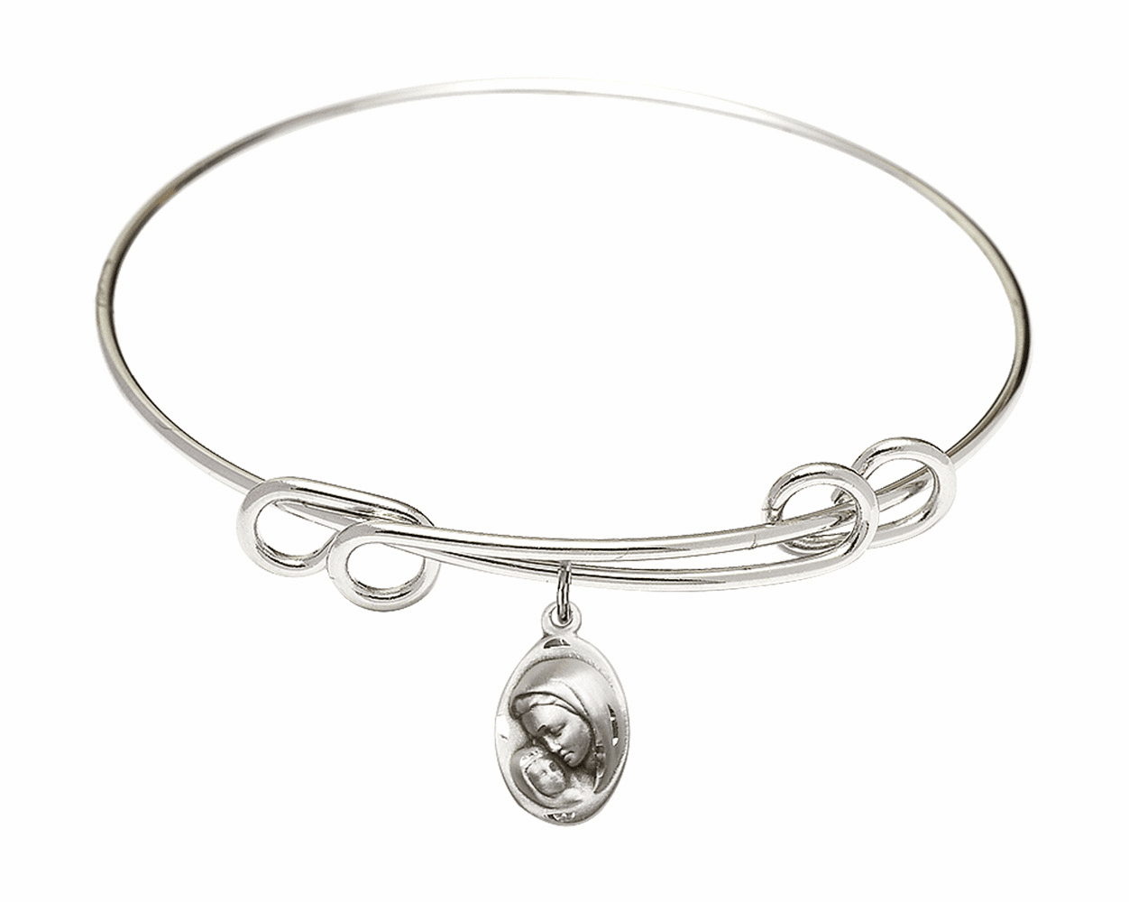 Round Double Loop Bangle Bracelet w/Oval Madonna and Childl Sterling Silver Charm by Bliss Mfg