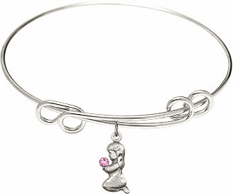 Round Double Loop Bangle Bracelet w/Pink Crystal Praying Girl Sterling Silver Charm by Bliss Mfg