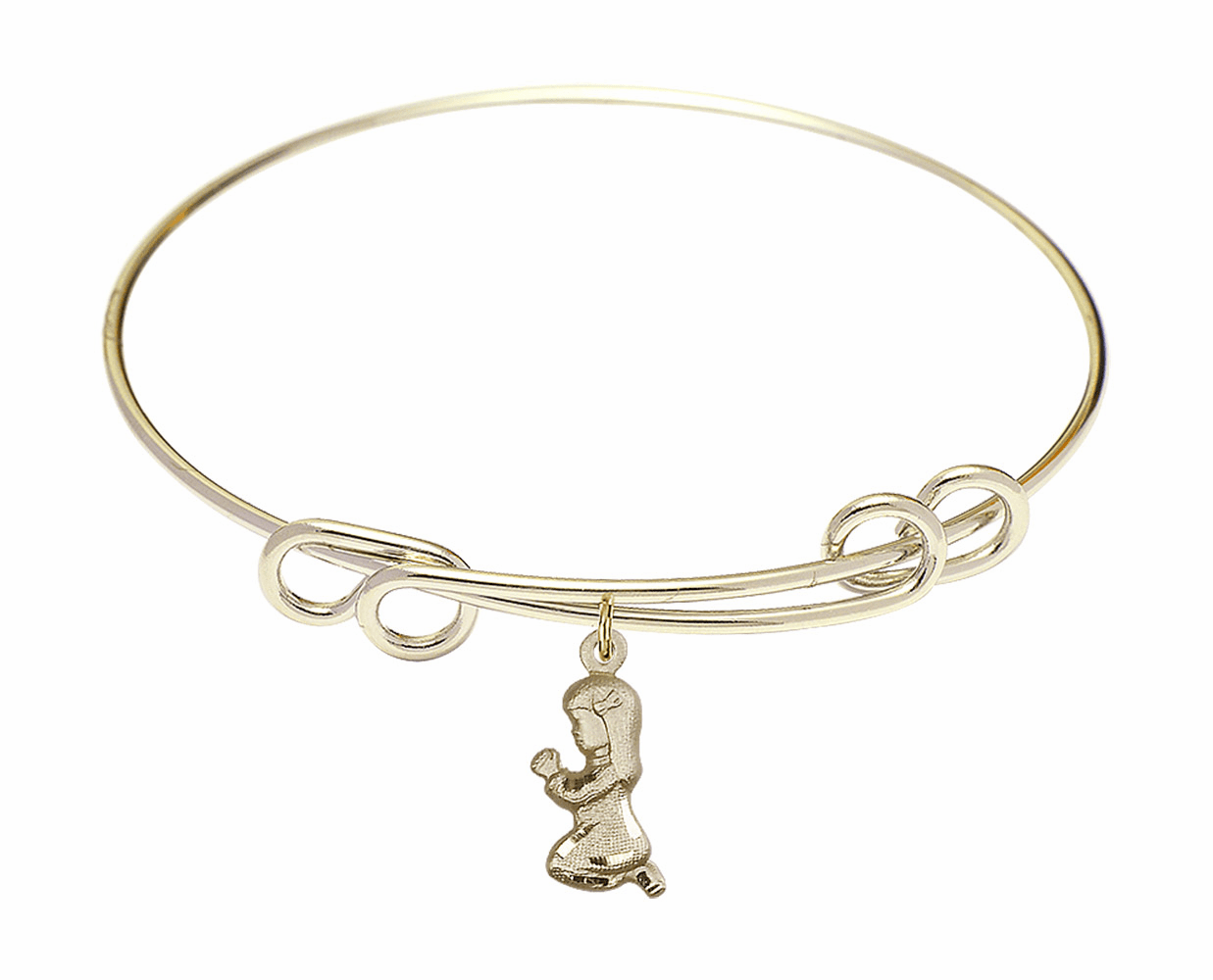 Round Double Loop Bangle Bracelet w/Praying Girl by Bliss Mfg