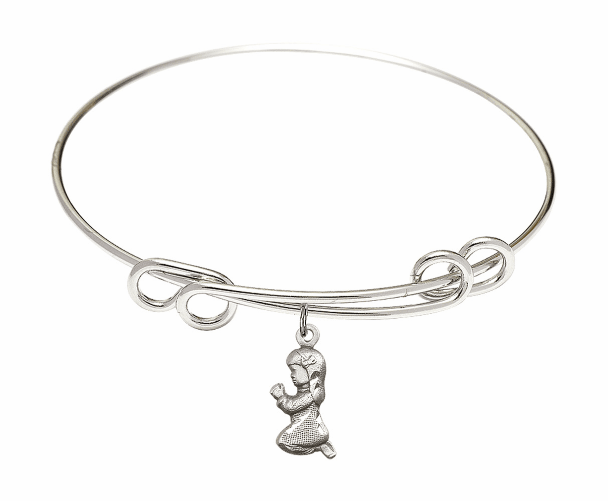 Round Double Loop Bangle Bracelet w/Praying Girl Sterling Silver Charm by Bliss Mfg