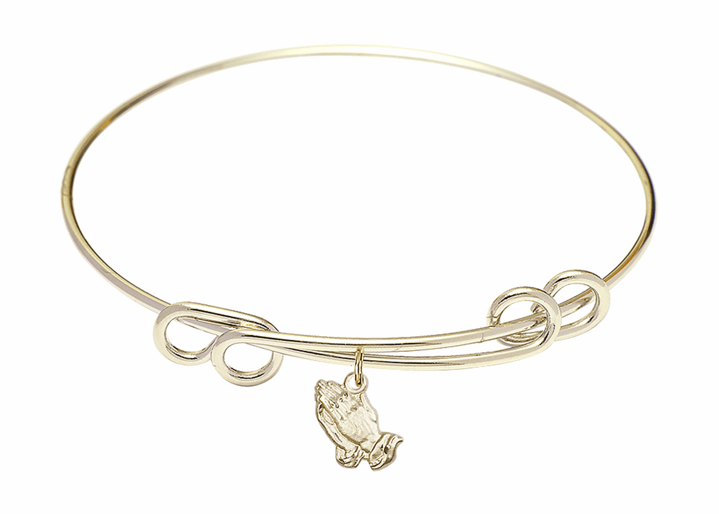 Round Double Loop Bangle Bracelet w/Praying Hands Charm by Bliss Mfg