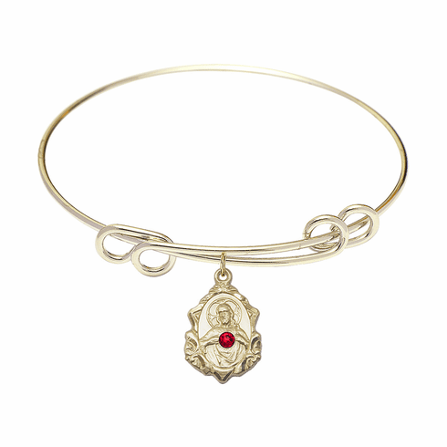 Round Double Loop Bangle Bracelet w/Red Crystal Scapular 14kt Gold-filled Charm by Bliss Mfg