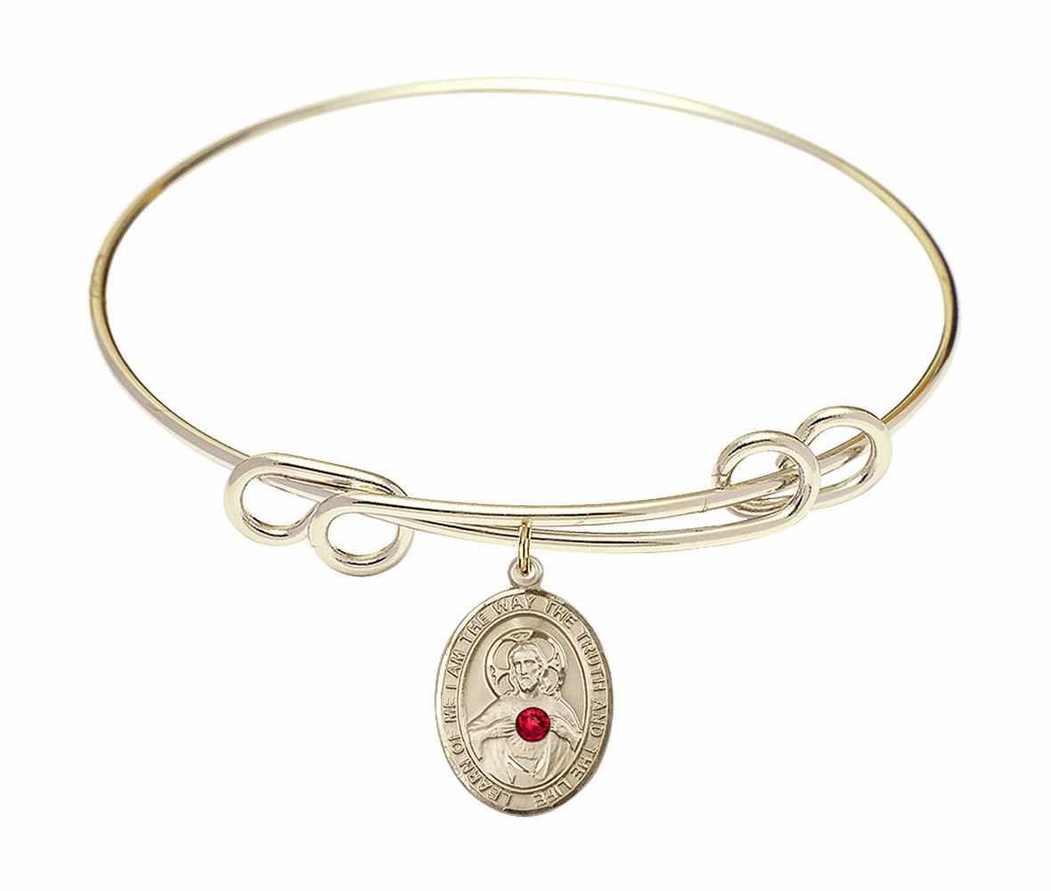 Round Double Loop Bangle Bracelet w/Red Crystal Scapular Charm by Bliss Mfg
