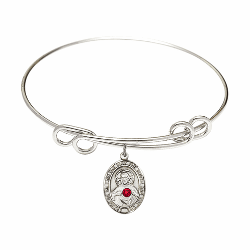 Round Double Loop Bangle Bracelet w/Red Crystal Scapularl Sterling Silver Charm by Bliss Mfg