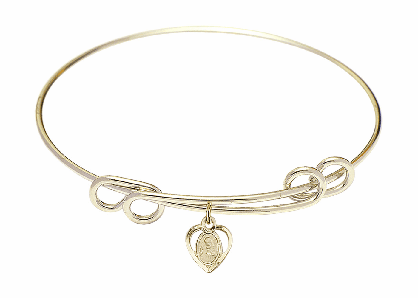 Round Double Loop Bangle Bracelet w/Sacred Heart Charm by Bliss Mfg