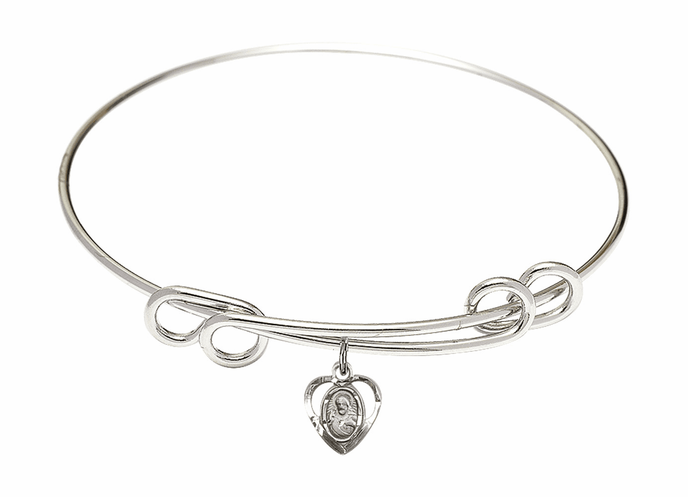 Round Double Loop Bangle Bracelet w/Sacred Heart Sterling Silver Charm by Bliss Mfg