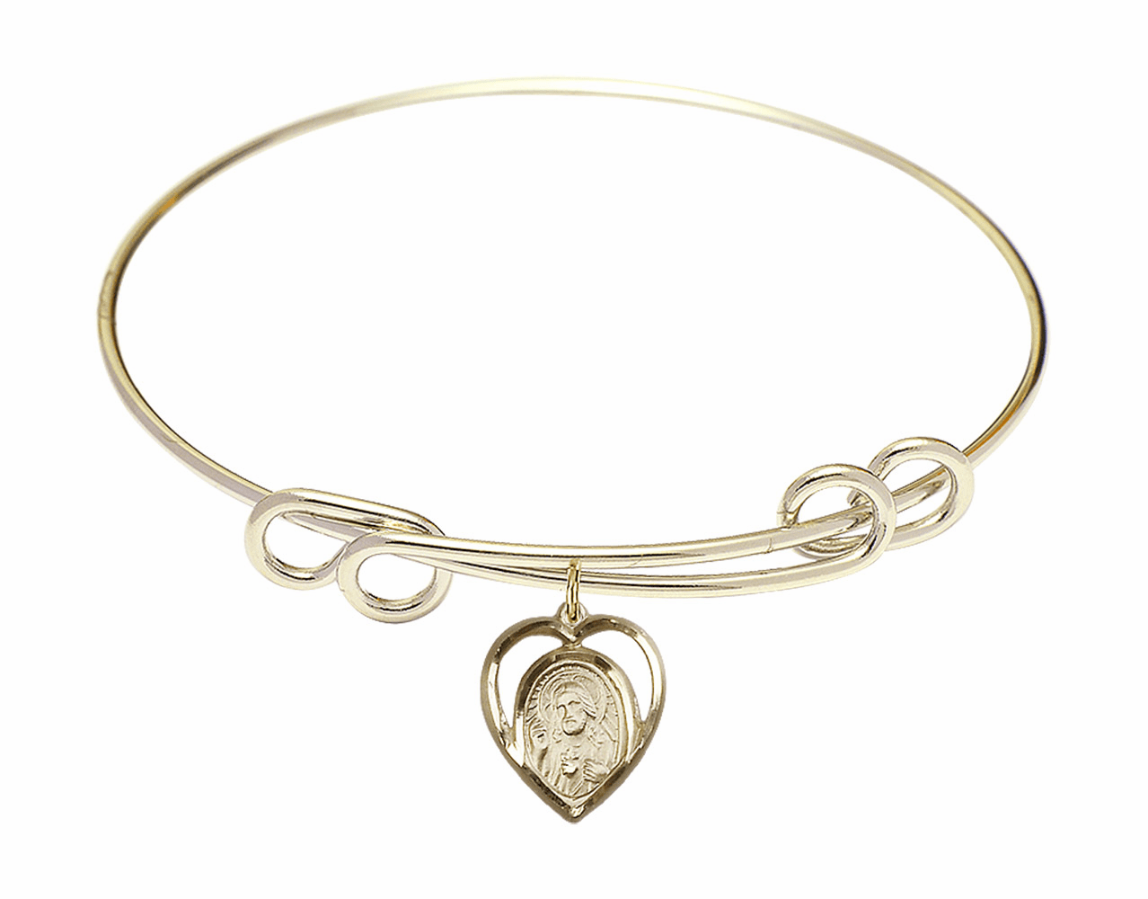 Round Double Loop Bangle Bracelet w/Scapular Heart Medal Charm by Bliss Mfg