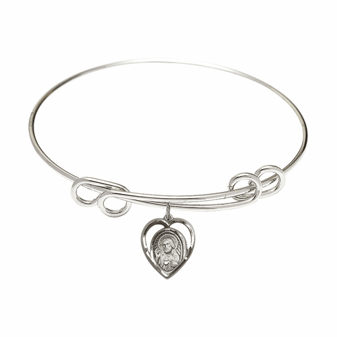 Round Double Loop Bangle Bracelet w/Scapular Heart Medal Sterling Silver Charm by Bliss Mfg