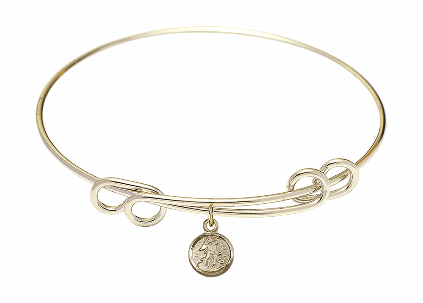 Round Double Loop Bangle Bracelet w/Small Guardian Angel Charm by Bliss Mfg