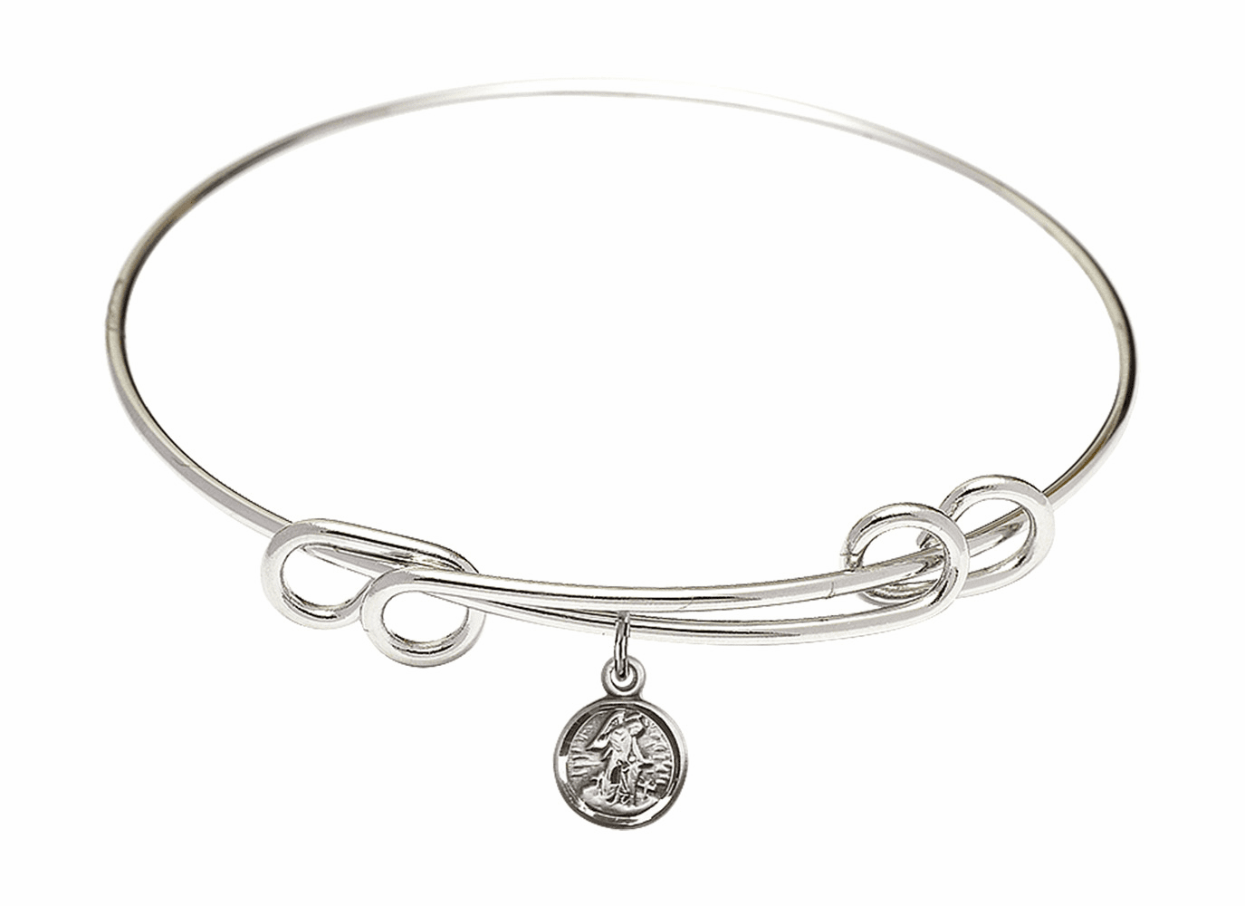 Round Double Loop Bangle Bracelet w/Small Guardian Angel Sterling Silver Charm by Bliss Mfg