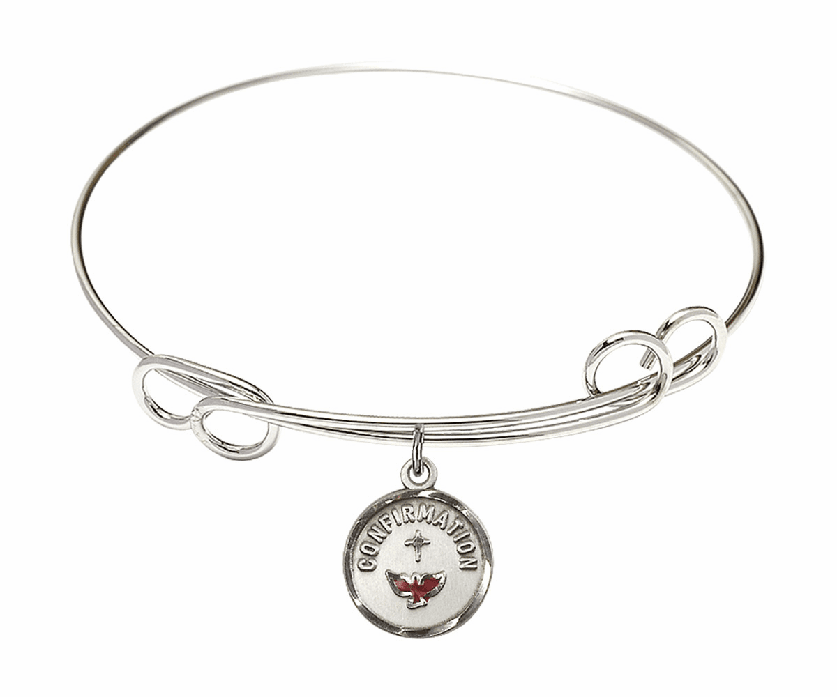 Round Double Loop Bangle Bracelet with a Confirmation Charm by Bliss Mfg