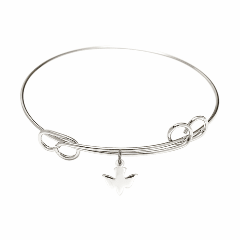 Round Double Loop Bangle Bracelet with a Holy Spirit Charm by Bliss Mfg
