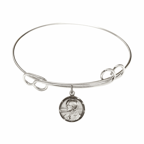 Round Double Loop Bangle Bracelet with a Scapular Charm by Bliss Mfg