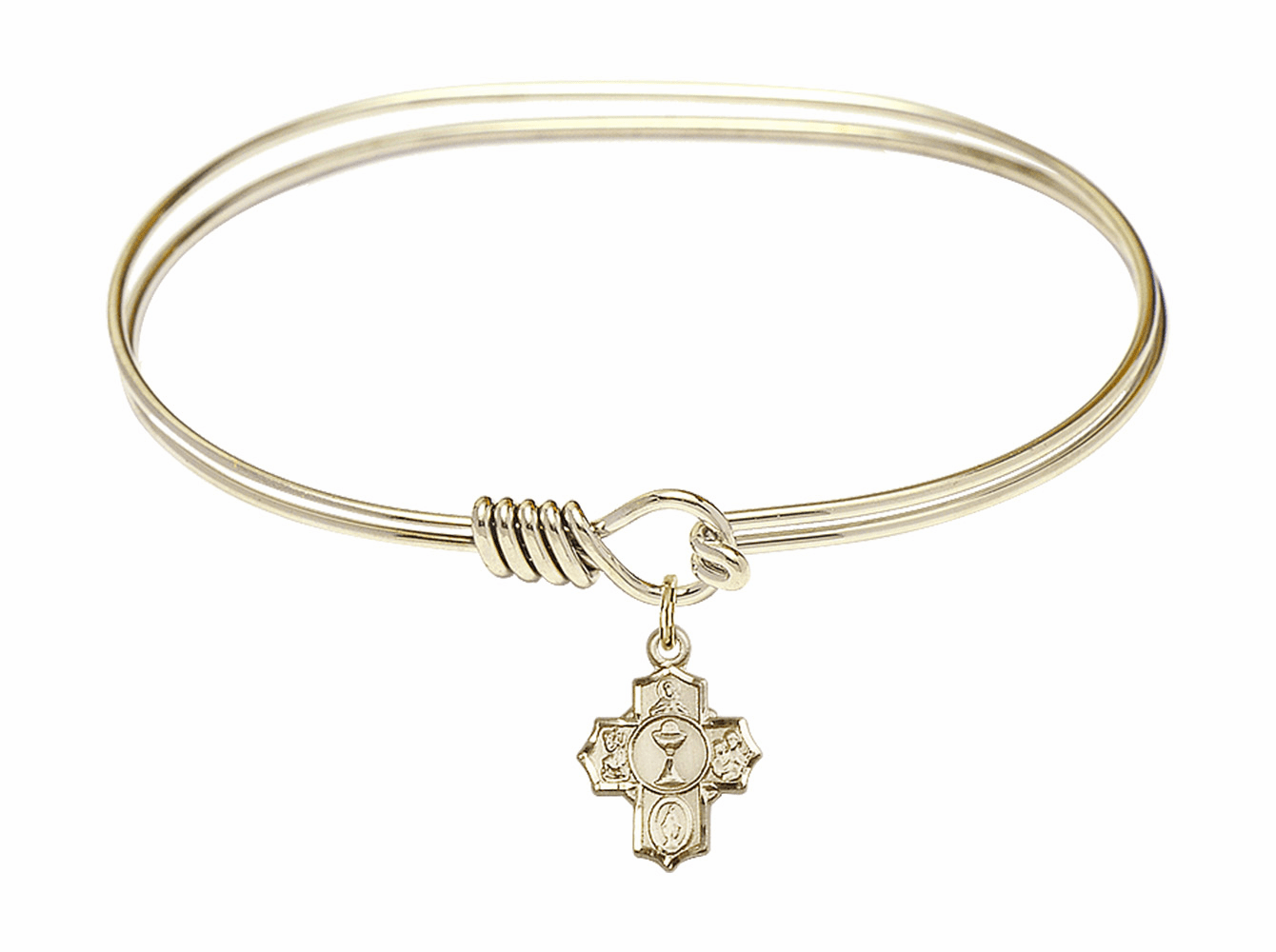 Round Eye Hook Bangle Bracelet w/5-Way Communion Cross Charm by Bliss Mfg