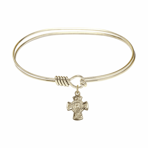 Round Eye Hook Bangle Bracelet w/5-Way Confirmation Holy Spirit Cross Charm by Bliss Mfg