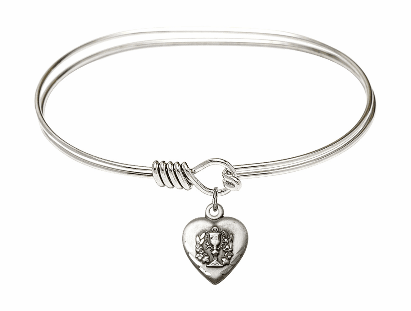 Round Eye Hook Bangle Bracelet w/Communion Heart Sterling Silver Charm by Bliss Mfg