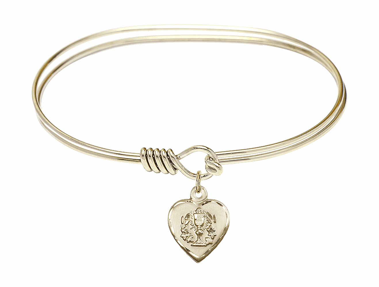 Round Eye Hook Bangle Bracelet w/Confirmation Heart Charm by Bliss Mfg