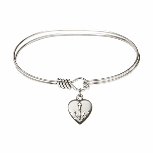 Round Eye Hook Bangle Bracelet w/Confirmation Heart Sterling Silver Charm by Bliss Mfg