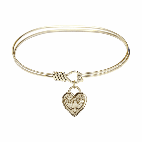 Round Eye Hook Bangle Bracelet w/Dove Confirmation Heart Charm by Bliss Mfg