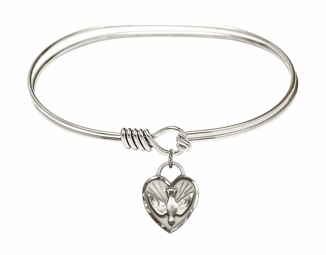 Round Eye Hook Bangle Bracelet w/Dove Confirmation Heart Sterling Silver Charm by Bliss Mfg