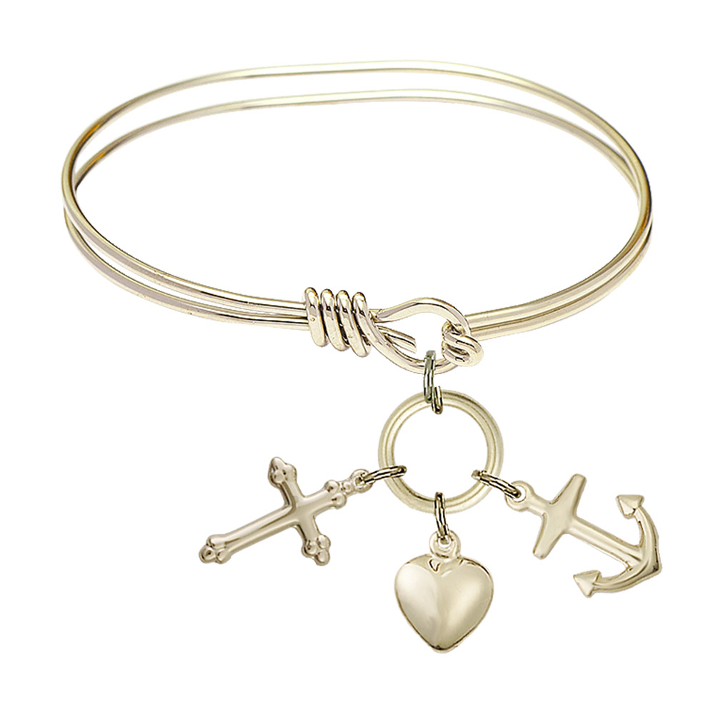 Christopher//Natl Guard Charm. DiamondJewelryNY Eye Hook Bangle Bracelet with a St