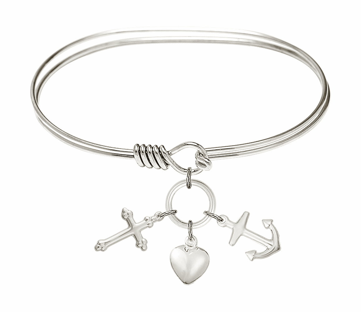 Round Eye Hook Bangle Bracelet w/Faith, Hope & Charity Sterling Silver Charm by Bliss Mfg