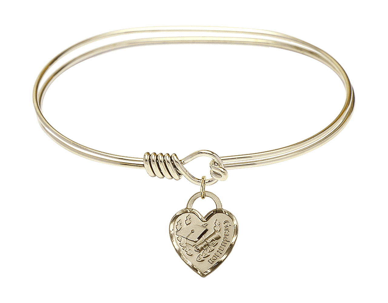 Round Eye Hook Bangle Bracelet w/Graduation Heart Charm by Bliss Mfg