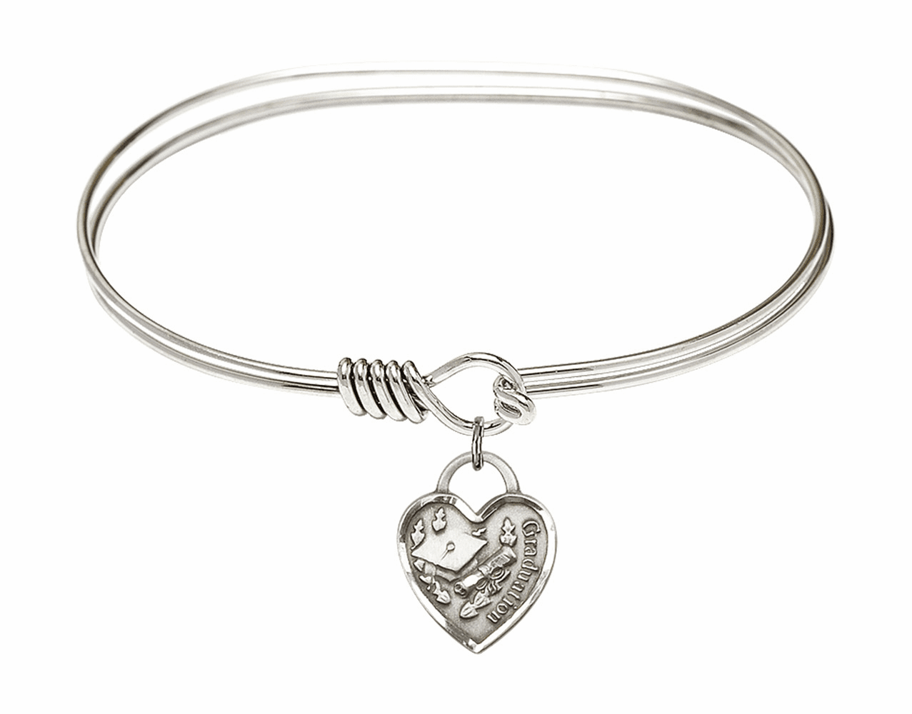 Round Eye Hook Bangle Bracelet w/Graduation Heart Sterling Silver Charm by Bliss Mfg