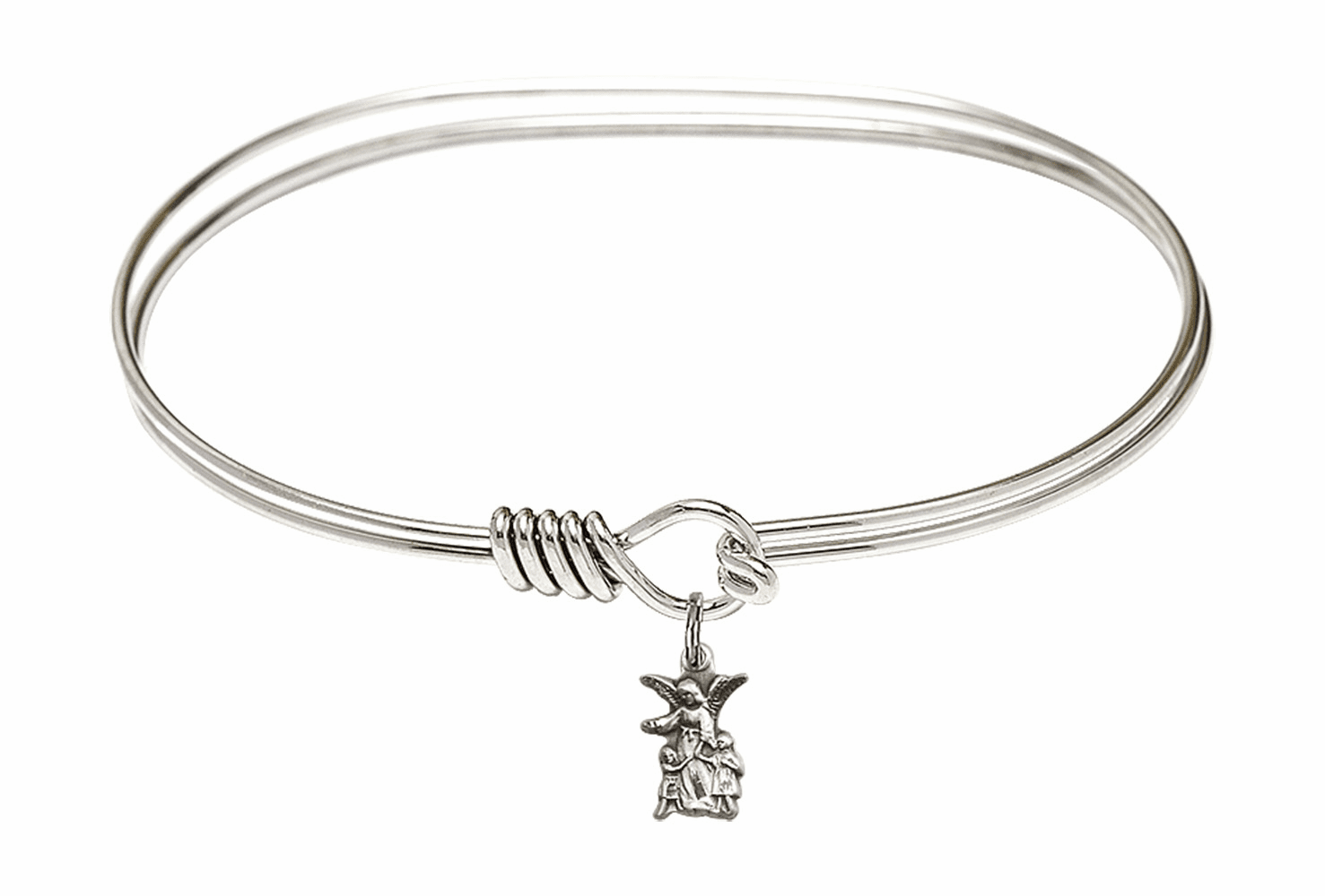 Round Eye Hook Bangle Bracelet w/Guardian Angel Figure Sterling Silver Charm by Bliss Mfg
