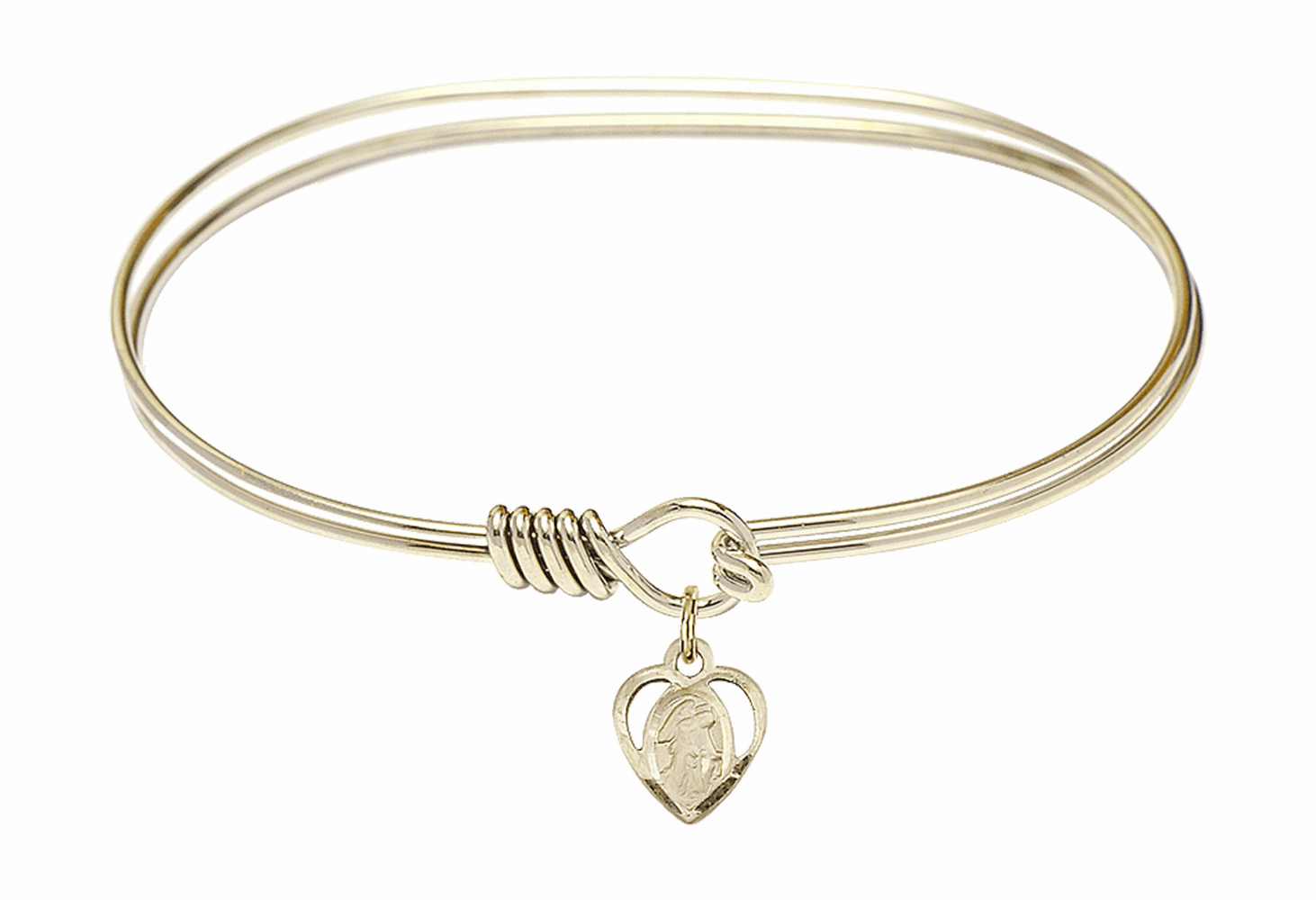 Round Eye Hook Bangle Bracelet w/Guardian Angel Heart Charm by Bliss Mfg